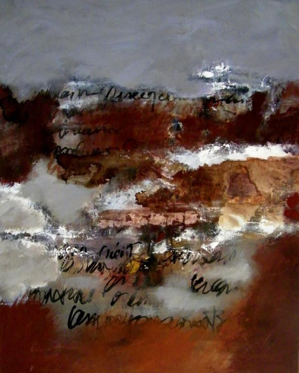 Dans les plis du temps tryptique  panneau gauche  80cms x 65