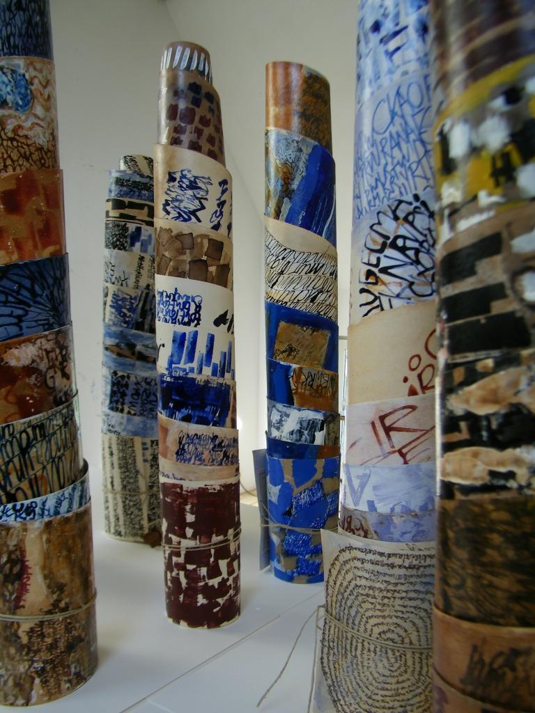 Palimpsestes Rouleaux  Technique mixte sur papier
