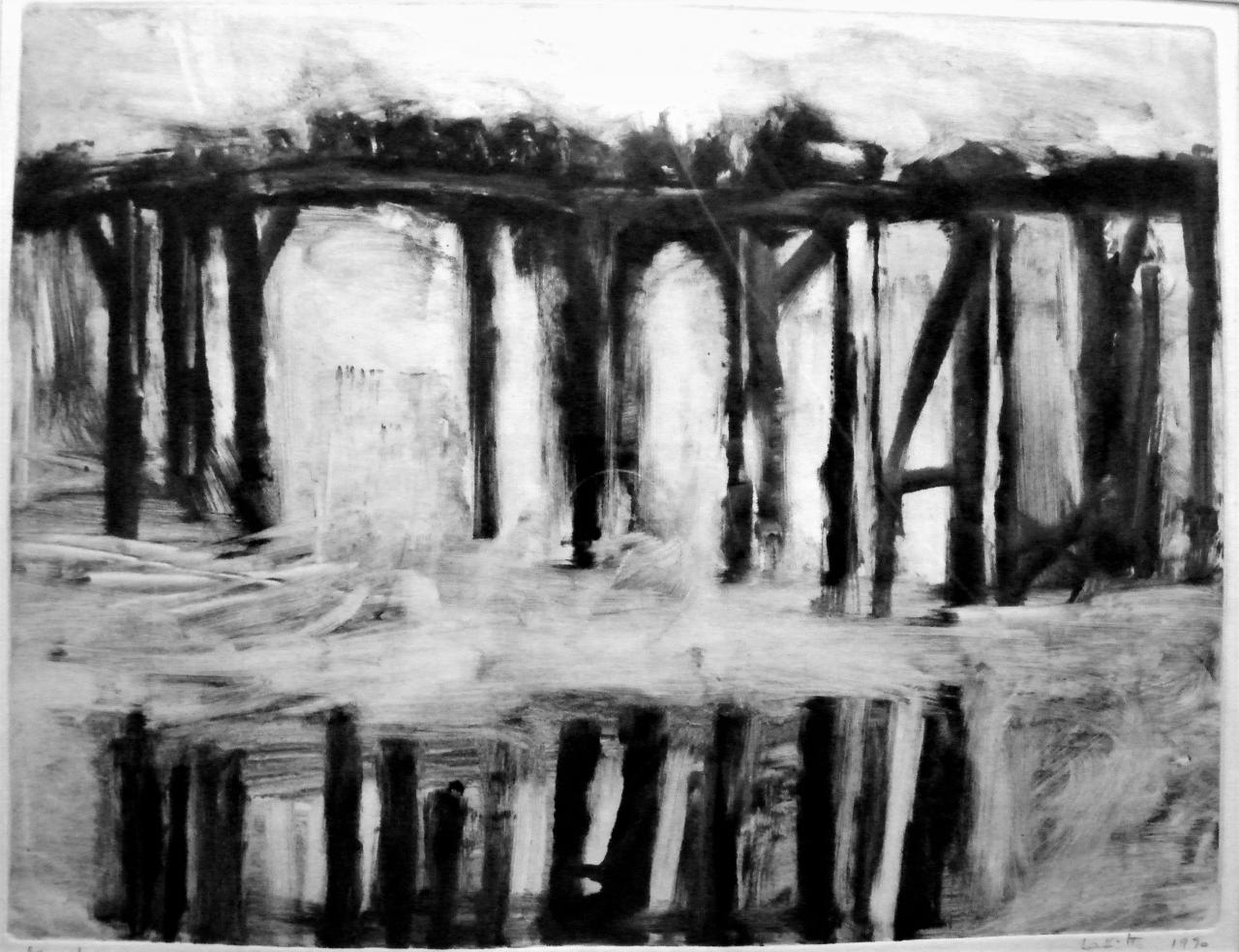 Foule sur un pont 1990 26 X 33